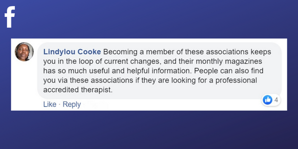 Facebook post from Lindylou Cooke about the benefits of belonging to a professional association