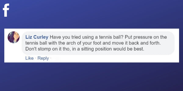 Facebook post from Liz Curley about using a tennis ball to relieve pain