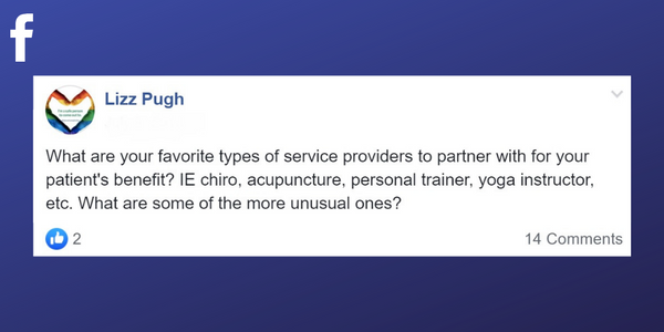 Facebook post from Lizz Pugh asking what types of medical professionals do other massage therapists network with successfully?