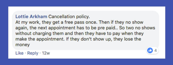 Cancellation policy advice Lottie Arkham facebook post