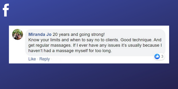 Facebook post from Miranda Jo about getting regular treatments as a massage therapist