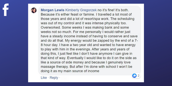 Facebook post from Morgan Lewis about burning out from her career in massage therapy
