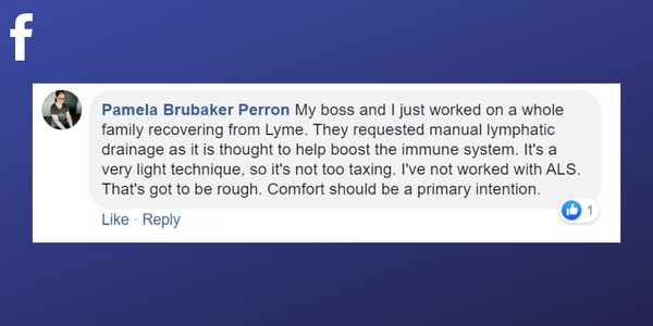 Facebook post from Pamela Brubaker Perron about massage helping with the immune system of paitents with Lyme disease