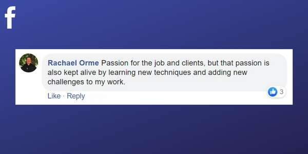 Facebook post from Rachael Orme about learning new skills to keep the passion for massage therapy