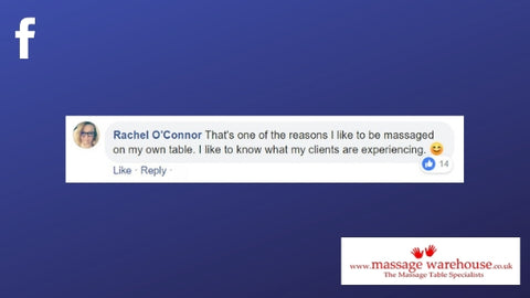 Facebook comment from Rachel O'Connor about the benefits of being massaged on your own table.