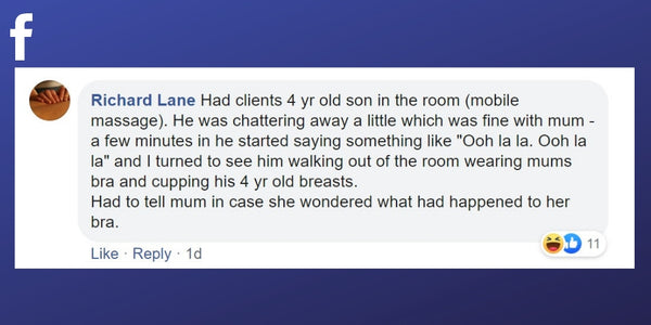 Facebook post from Richard Lane about a kid taking over a massage treatment!