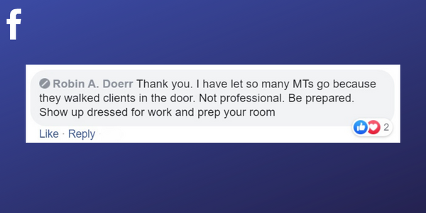 Facebook post from Robin A. Doerr about firing massage therapists for not being on time