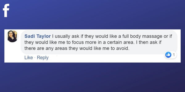 Facebook post from Sadi Taylor about addressing areas of the body clients would like to be treated before starting