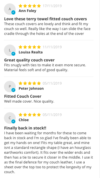 Recent Reviews for massage table couch cover