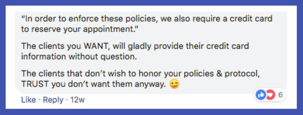 Cancellation policy advice from Sonji L. Wilkins Facebook post