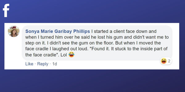 Facebook post from Sonya Phillips about a client losing their gum during a massage treatment