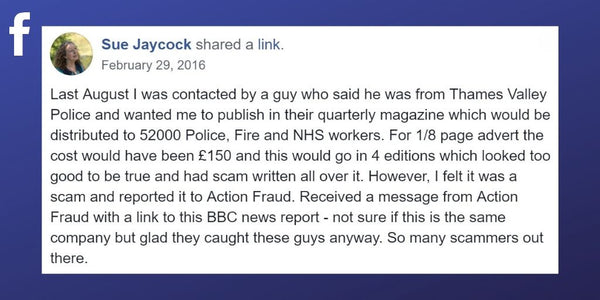 Facebook post from Sue Jaycock about false advertising scam