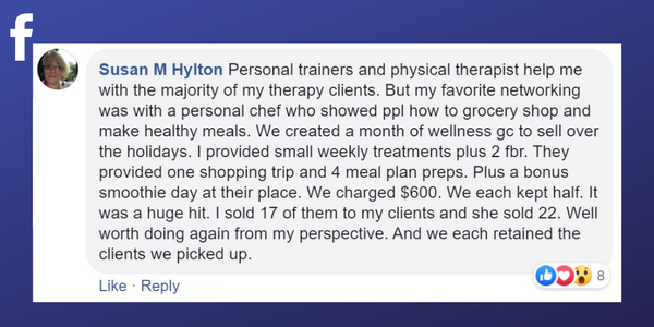 Facebook post from Susan M Hylton about working with a personal chef to find clients