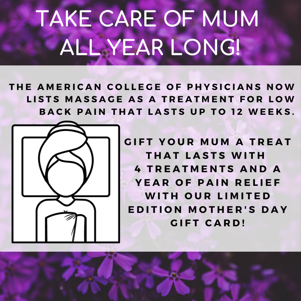 TAKE CARE OF MUM  ALL YEAR LONG! social media post from Massage Warehouse