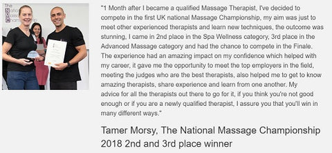 Testimonial from Tamer Morsy about the experience of competing in the National Massage Championships