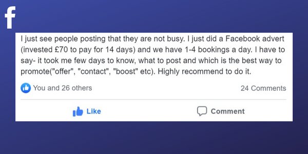 Facebook post from a Massage Therapist about using Facebook promotions