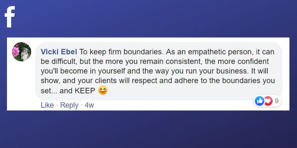 Facebook post from Vicky Ebel about setting and maintaining boundaries as a massage therapist