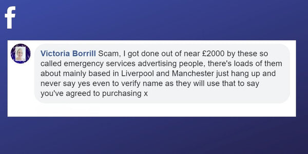 Facebook post from Victoria Borrill about being scammed out of £2000 for false advertising spots