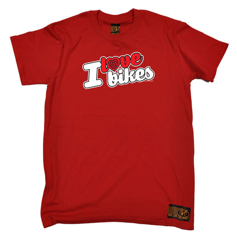 Ride Like The Wind Cycling Tee - I Love Bikes Stencil - Mens T-Shirt