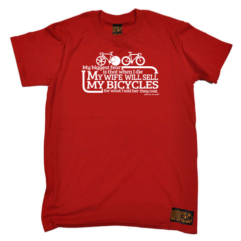 Ride Like The Wind Cycling Tee - My Biggest Fear Is My Wife Sells Bikes - Mens T-Shirt