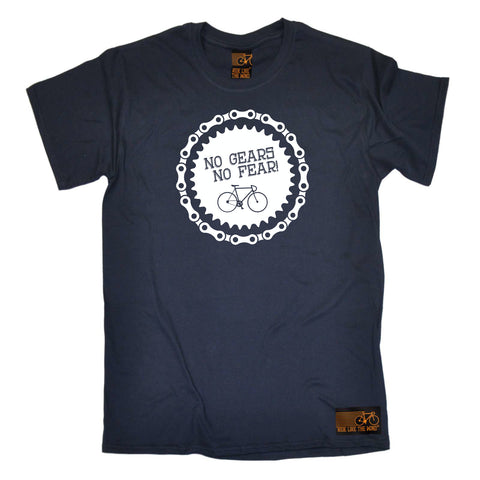 Ride Like The Wind Cycling Tee - No Gears No Fear - Mens T-Shirt