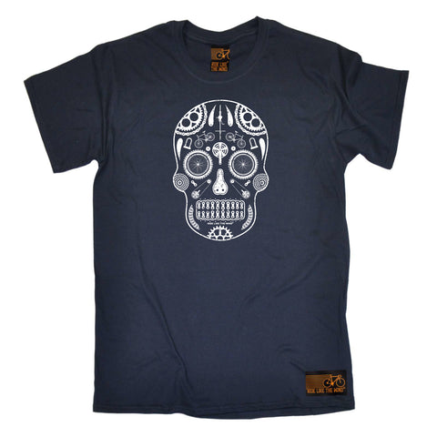 Ride Like The Wind Cycling Tee - Candy Skull Bike Parts - Mens T-Shirt