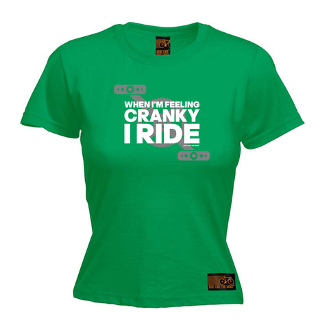 Ride Like The Wind Cycling Tee - When Im Feeling Cranky -  Womens Fitted Cotton T-Shirt Top T Shirt