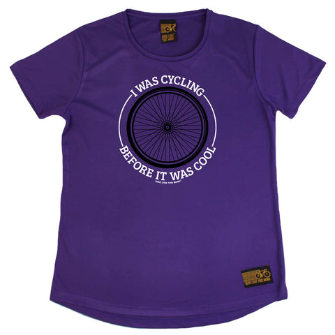Ride Like The Wind Cycling Ladies Tee - Wheel I Was Cycling Before It Was Cool - Round Neck Dry Fit Performance T-Shirt