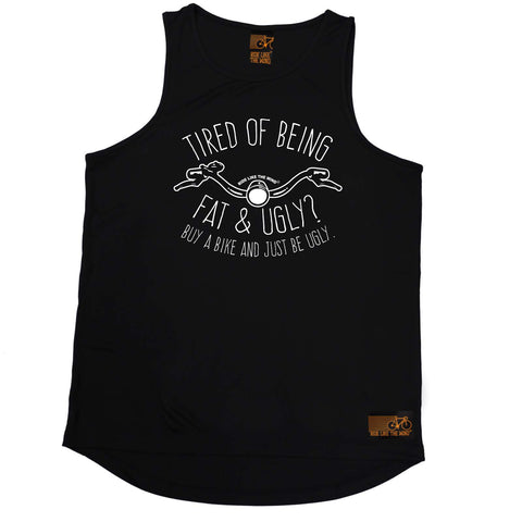 Ride Like The Wind Cycling Vest - Tired Of Being Fat And Ugly - Dry Fit Performance Vest Singlet