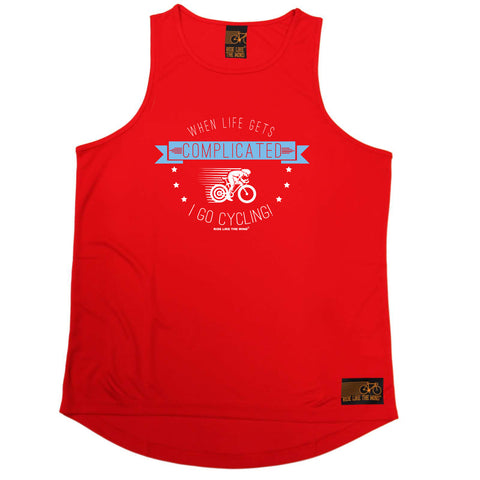 Ride Like The Wind Cycling Vest - When Life Gets Complicated Cycling - Dry Fit Performance Vest Singlet