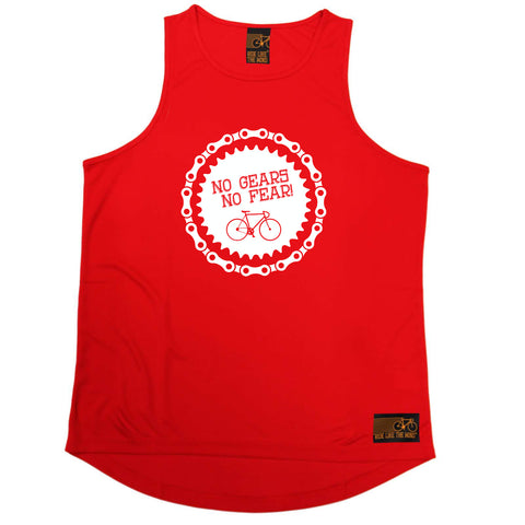 Ride Like The Wind Cycling Vest - No Gears No Fear - Dry Fit Performance Vest Singlet