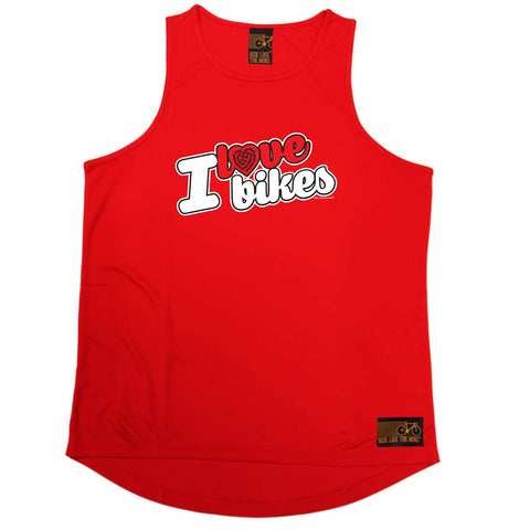 Ride Like The Wind Cycling Vest - I Love Bikes Stencil - Dry Fit Performance Vest Singlet