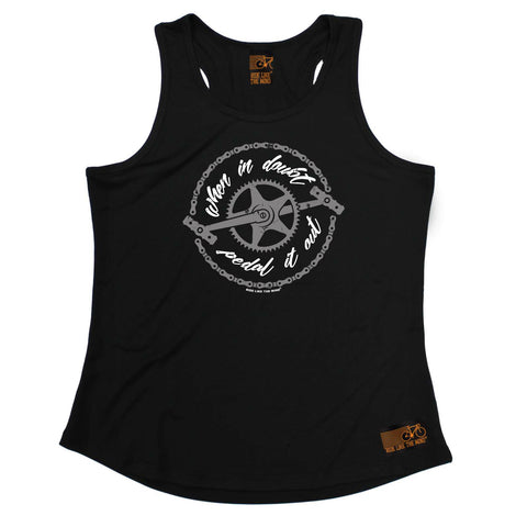 Ride Like The Wind Womens Cycling Vest - When In Doubt Pedal It Out Gray Crank - Dry Fit Performance Vest Singlet
