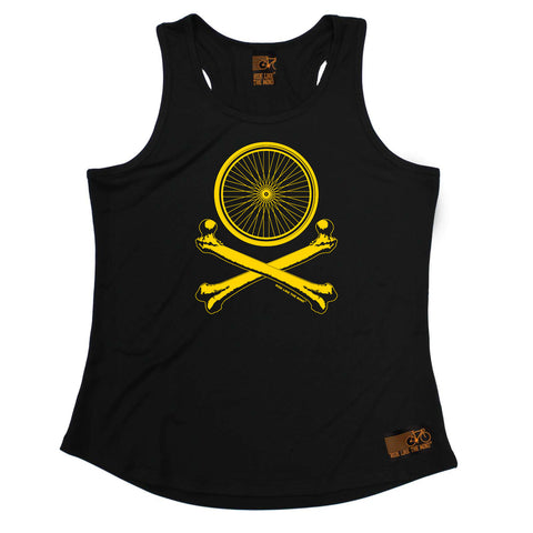 Ride Like The Wind Womens Cycling Vest - Wheel Crossbones - Dry Fit Performance Vest Singlet