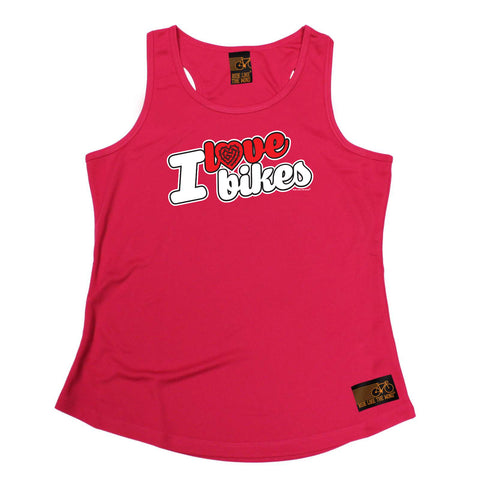 Ride Like The Wind Womens Cycling Vest - I Love Bikes Stencil - Dry Fit Performance Vest Singlet