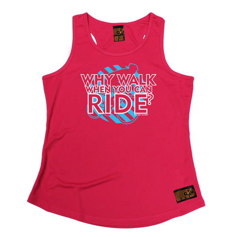 Ride Like The Wind Womens Cycling Vest - Why Walk When You Can Ride - Dry Fit Performance Vest Singlet