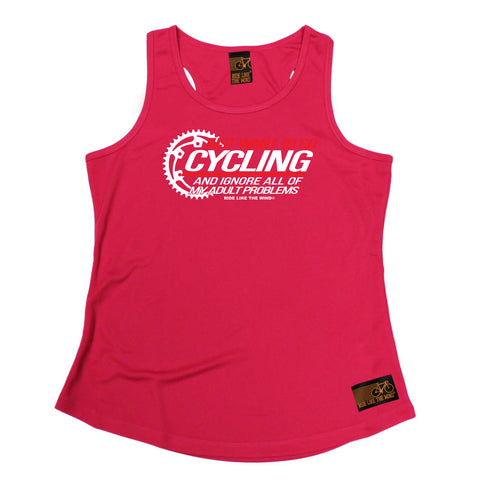 Ride Like The Wind Womens Cycling Vest - Just Want To Go Cycling - Dry Fit Performance Vest Singlet