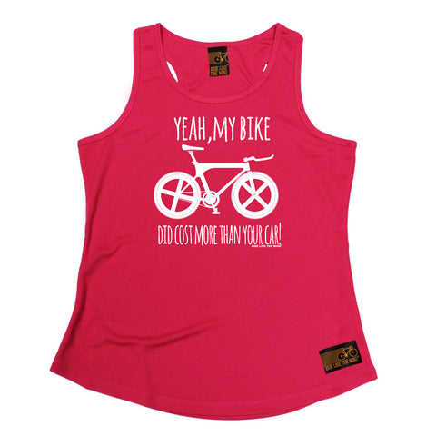 Ride Like The Wind Womens Cycling Vest - Yeah My Bike Did Cost More - Dry Fit Performance Vest Singlet