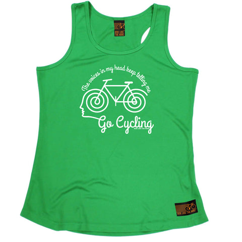 Ride Like The Wind Womens Cycling Vest - The Voices In My Head Keep Telling Me To Go Cycling - Dry Fit Performance Vest Singlet