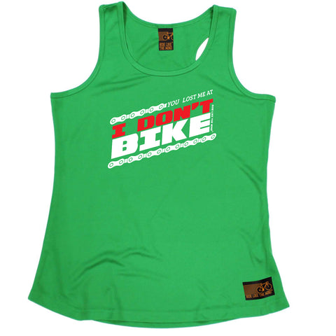 Ride Like The Wind Womens Cycling Vest - You Lost Me At I Dont Bike - Dry Fit Performance Vest Singlet