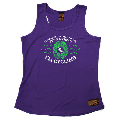 Ride Like The Wind Womens Cycling Vest - I May Look Like Im Listening Cycling - Dry Fit Performance Vest Singlet