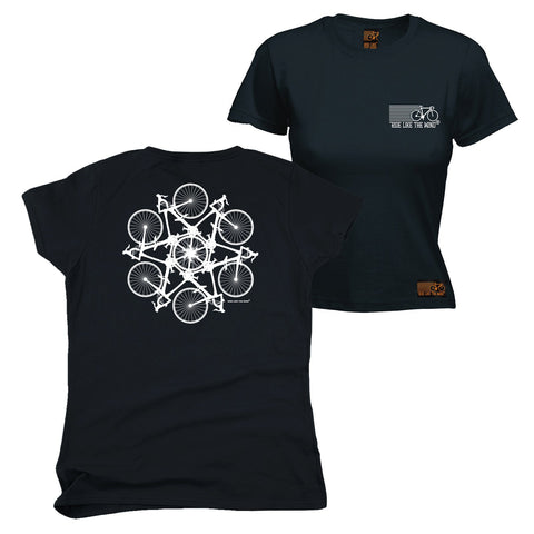 FB Ride Like The Wind Cycling Tee - Kaleidoscope -  Womens Fitted Cotton T-Shirt Top T Shirt