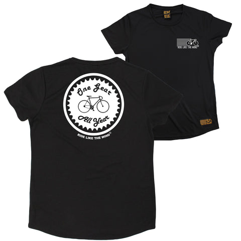 FB Ride Like The Wind Cycling Ladies Tee - One Gear All Year - Round Neck Dry Fit Performance T-Shirt