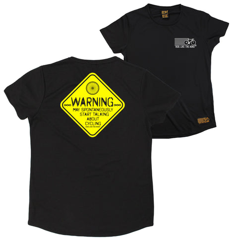 FB Ride Like The Wind Cycling Ladies Tee - Warning Cycling - Round Neck Dry Fit Performance T-Shirt