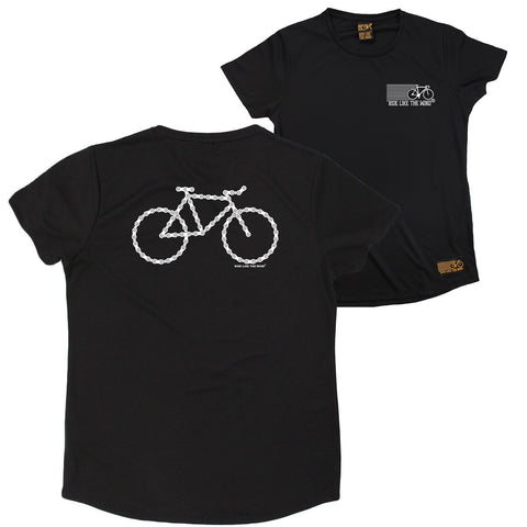 FB Ride Like The Wind Cycling Ladies Tee - Chain Bike - Round Neck Dry Fit Performance T-Shirt