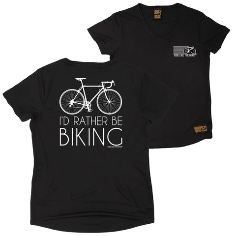 FB Ride Like The Wind Womens Cycling Tee - Rather Biking - V Neck Dry Fit Performance T-Shirt