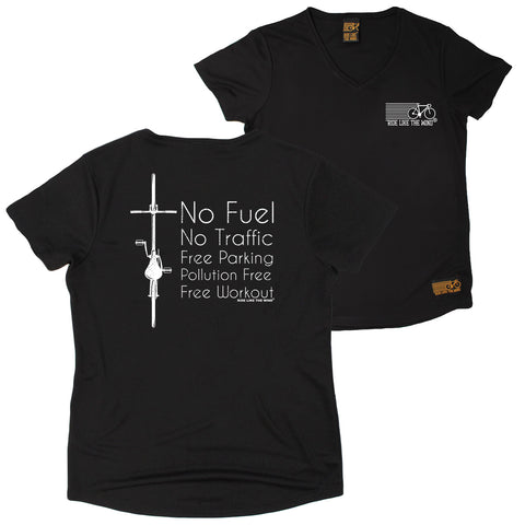 FB Ride Like The Wind Womens Cycling Tee - No Fuel - V Neck Dry Fit Performance T-Shirt