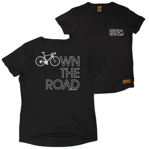 FB Ride Like The Wind Womens Cycling Tee - Own The Road - V Neck Dry Fit Performance T-Shirt
