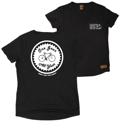 FB Ride Like The Wind Womens Cycling Tee - One Gear All Year - V Neck Dry Fit Performance T-Shirt