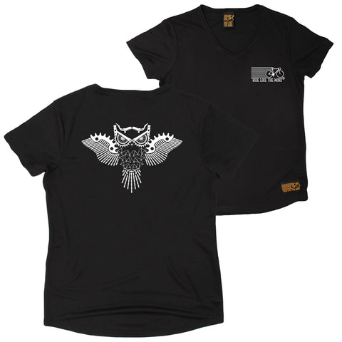 FB Ride Like The Wind Womens Cycling Tee - Owl Parts - V Neck Dry Fit Performance T-Shirt